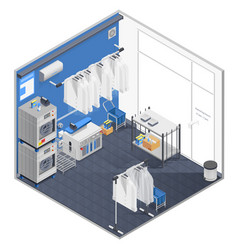 Laundry and dry cleaning isometric concept vector