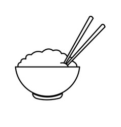 Bowl of rice and chopsticks cooked dinner asian vector