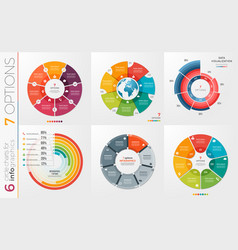 Collection of 6 circle chart templates 7 vector