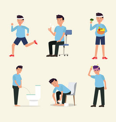 Man flat character activity healthy life style set vector