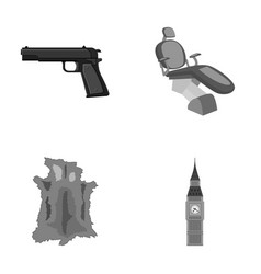 Pistol toothpin and other monochrome icon in vector