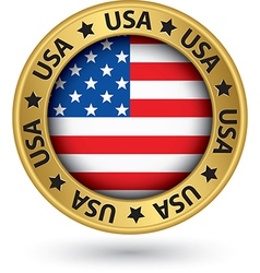 Usa gold label with state map vector