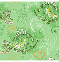 marine seamless pattern with tropical fishes vector image
