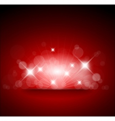 red background with white lights vector image