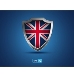 Uk shield on the blue background vector