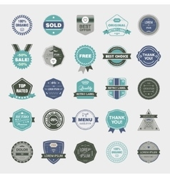 set of retro badges vintage labels icons vector image
