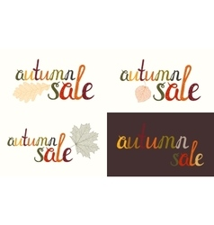 Set of autumn sale inscription vector