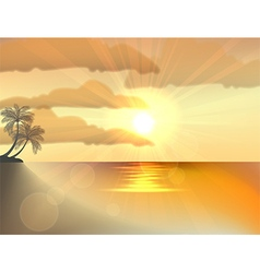 Sunset ocean summer beach with tropical palm tree vector