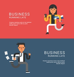 Young businessmans in suit running fast flat style vector