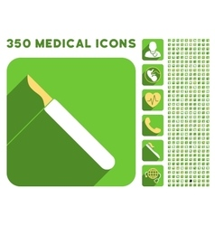 Scalpel icon and medical longshadow icon set vector