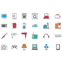 Appliances colorful icons set vector