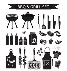barbecue and grill icons set black silhouette vector image