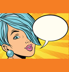 beautiful woman with short hair comic bubble vector image