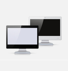 black and white monitor isolated on white vector image vector image