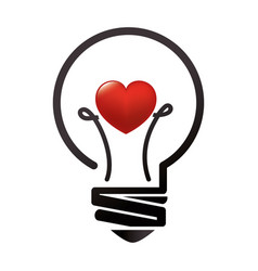 Bulb light with heart education icon vector
