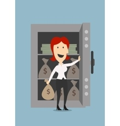 Businesswoman opens a safe with money vector image vector image