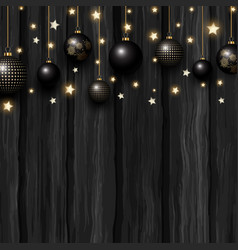 christmas baubles and stars on a grunge wooden vector image vector image