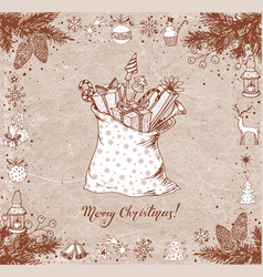 christmas card with sack full of gifts gift boxes vector image vector image