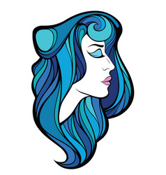 Decorative portrait of beauty woman with blue vector