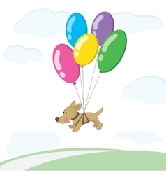 Dog flies on balloons vector