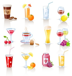 drinks icons vector image vector image
