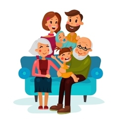 Family with children sitting on couch vector