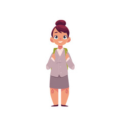 full length portrait of girl in school uniform vector image