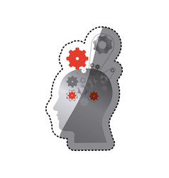 Gray contour human with gear icon vector