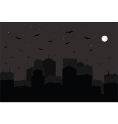 Halloween background Night city silhouette vector image vector image
