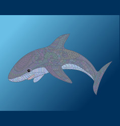 happy shark with high details vector image vector image