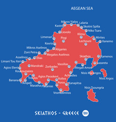 Island of skiathos in greece red map vector