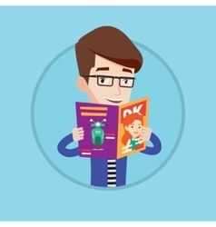 Man reading magazine vector
