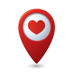 Map pointer with heart icon vector image vector image