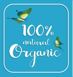 Organic 100 natural card poster logos vector