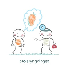 otolaryngologist listens to a story about a vector image vector image
