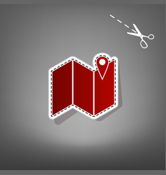 Pin on the map red icon with for applique vector