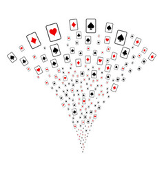 Playing cards fountain stream vector