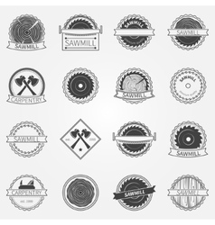 Sawmill labels and badges vector image