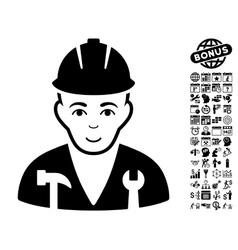 Serviceman flat icon with bonus vector