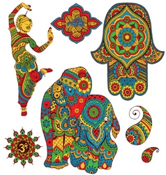 set of Indian symbols vector image vector image