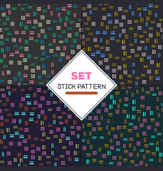 Set stick pattern set of four seamless textures vector