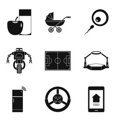 system update icons set simple style vector image vector image