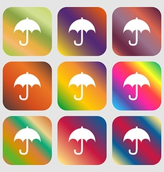 Umbrella icon nine buttons with bright gradients vector