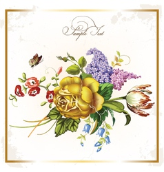 Vintage postcard with beautiful flowers vector image vector image