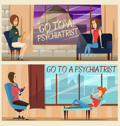 Visit to psychiatrist flat banners vector
