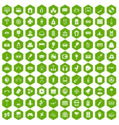 100 entertainment icons hexagon green vector