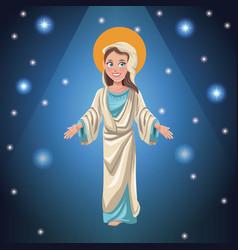 Virgin mary faith bright background vector