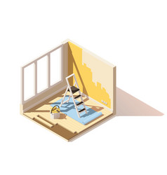 isometric low poly home renovation icon vector image