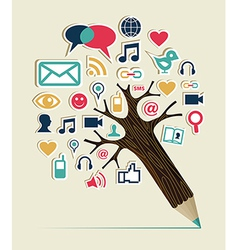 Social media networks pencil tree vector