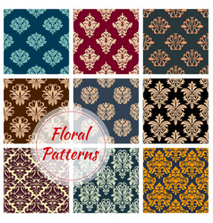 Floral damask seamless patterns set vector